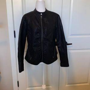 Baccini black faux leather jacket.